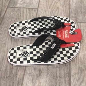 Vans checkerboard flip flops black checker sandals